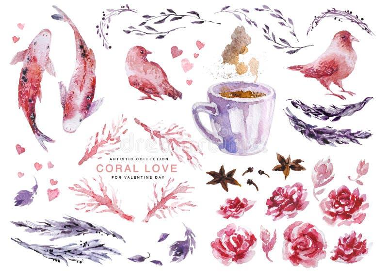 Artistieke waterverfinzameling van liefdeelementen voor de dag & het huwelijksvieringskaarten van Valentine, affiches, drukken, p vector illustratie