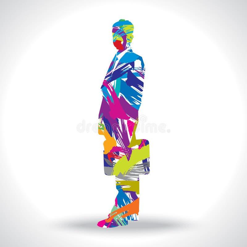 Artistieke zakenmanvector met kleuren stock illustratie