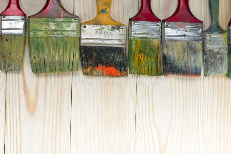 Artistique, artiste, art Pinceaux utilisés d'artiste images libres de droits