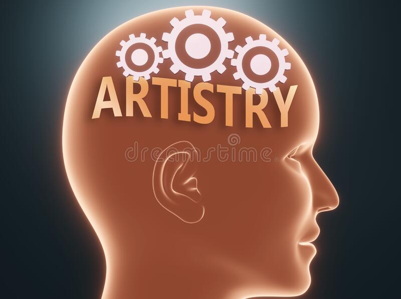 Artistry inside human mind - pictured as word Artistry inside a head with cogwheels to symbolize that Artistry is what people may. Think about and that it stock illustration