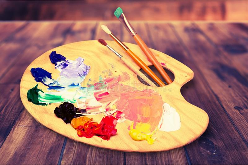 Artistry. Paint art brush old color sketch stock image