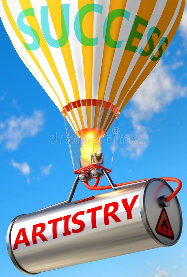 Artistry and success - pictured as word Artistry and a balloon, to symbolize that Artistry can help achieving success and. Prosperity in life and business, 3d stock illustration