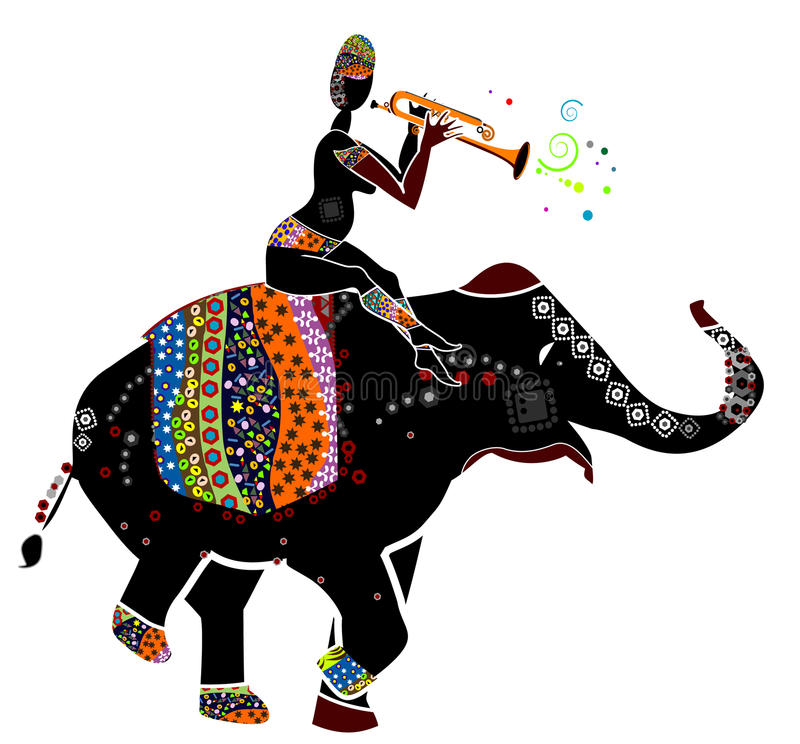 Artists. Man plays a gay music, sitting on the back of his elephant in ethnic style stock illustration