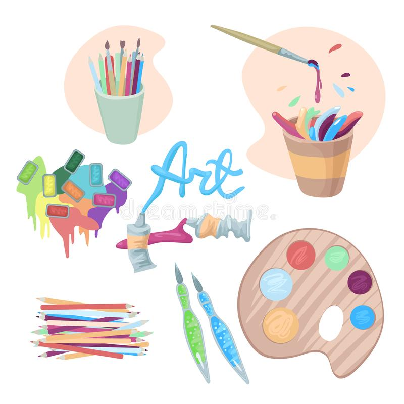The artists accessories, paints in cuvettes and tubes, splashes and drops of paints, platra and pencils. Vector royalty free illustration