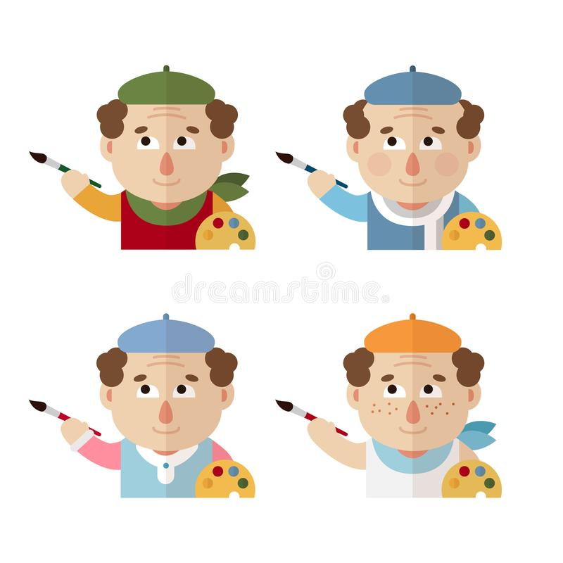 Artists in a beret with a palette and brush at different times of the year: winter, spring, summer, autumn. royalty free stock photos