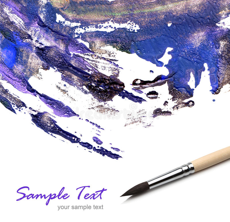 Artists brush with painted royalty free stock photo