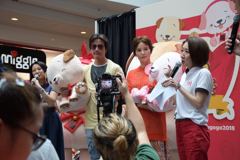 Artists Chen Hanwei e Zoe Tay de Singapura Mediacorp fotos de stock royalty free
