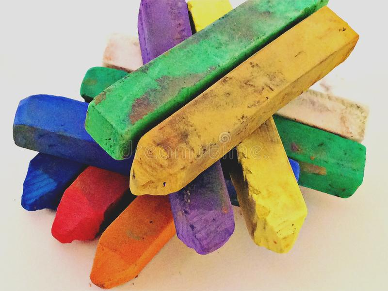 Artists coloured pastels. Soft pastels for art work stock photo