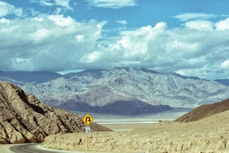 Artists` Drive - Wild drive at Death Valley stock photos