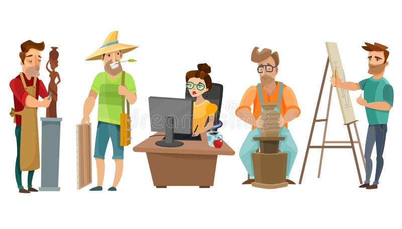 Artists Freelance Creative People Cartoon Set. Creative freelance people at work in studio with artist sculptor journalist and potter cartoon images set vector vector illustration