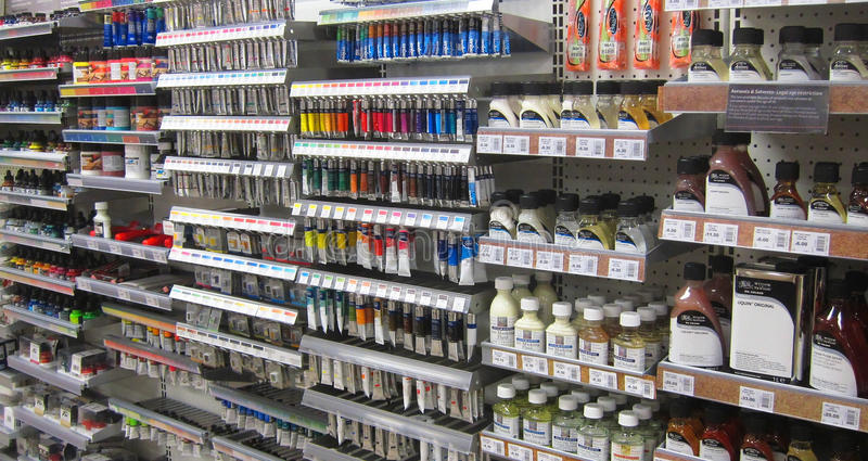 Artists materials, paints in a store. Various artists materials for sale in a store including tubes of paints, oil and varnish stock photography