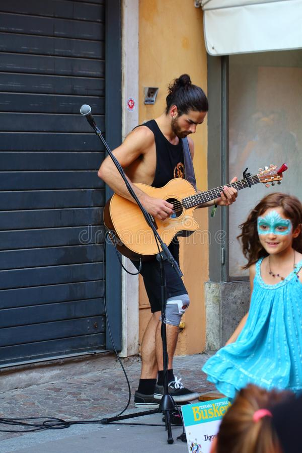 Artists perform in the street. Buskers Festival royalty free stock photography