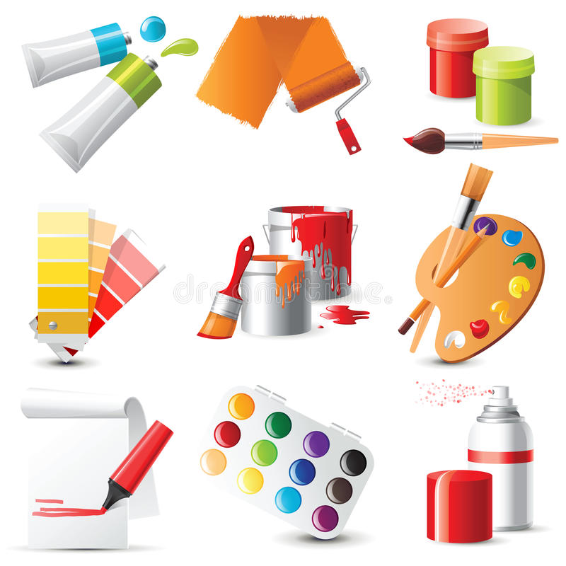 Artists supplies. 9 highly detailed artists supplies icons stock illustration