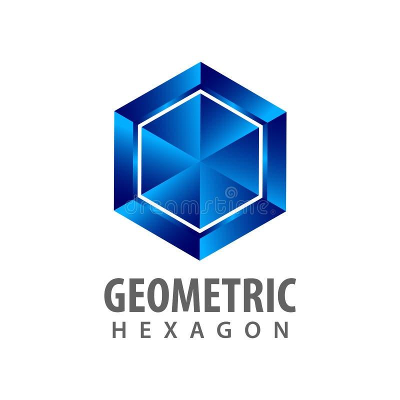 Artlogo-Konzeptentwurf des geometrischen Hexagons dreidimensionaler Grafisches Schablonenelement des Symbols stock abbildung
