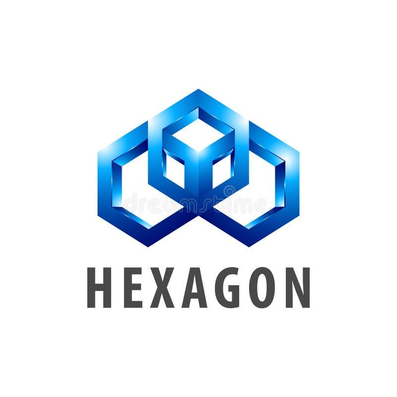 Artlogo-Konzeptentwurf des Hexagons dreidimensionaler Grafisches Schablonenelement des Symbols stock abbildung