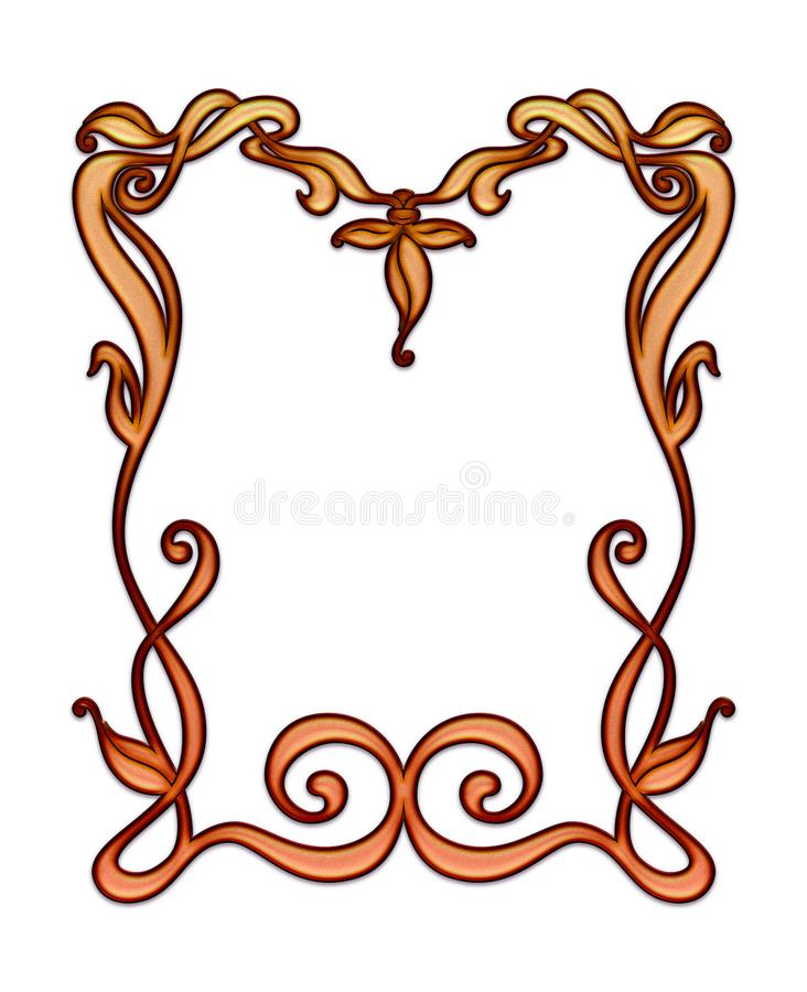 Art Nouveau delicate hand drawn border leafy frame with space for copy or graphics. Includes clipping mask vector illustration