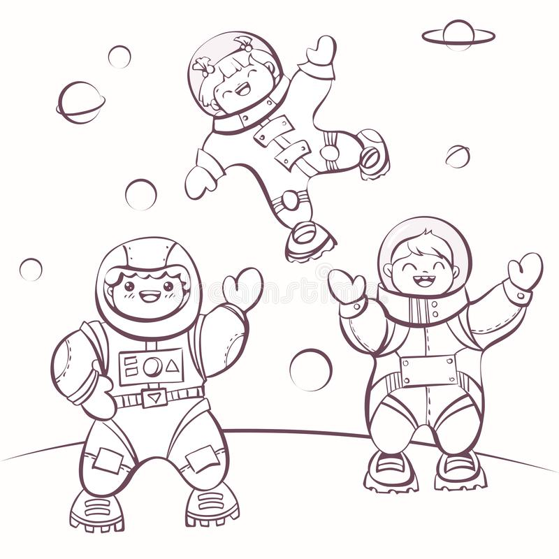 ?artoon astronauts in outer space, vector illustration for colouring. Simply editable image stock illustration