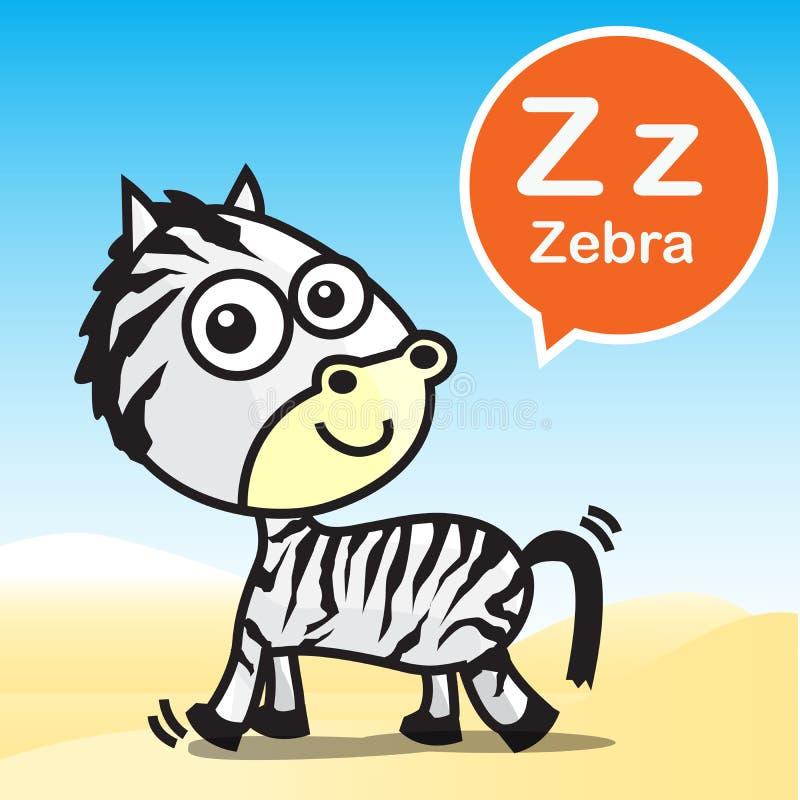 Artoon e alfabeto da cor da zebra de Z para crianças a aprender o vecto ilustração stock