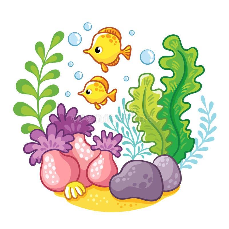Artoon podwodny życie ilustracji
