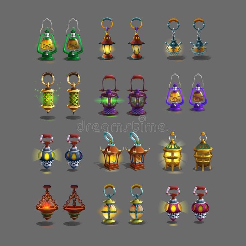 ?artoon set colorful ancient lamps for fantasy games. Vector illustration royalty free illustration