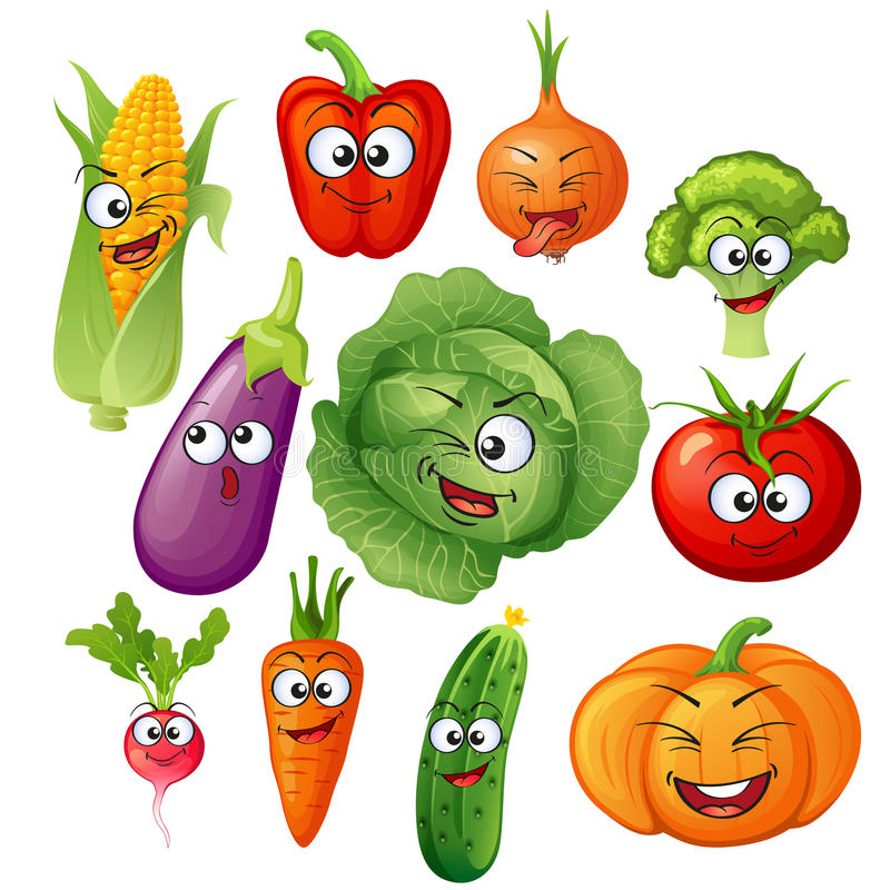 Artoon vegetable characters. Vegetable emoticons. Cucumber, tomato, broccoli, eggplant, cabbage, peppers, carrots, onions, pumpkin stock illustration