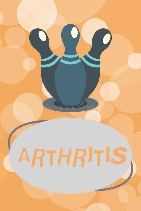 Artrit för textteckenvisning Begreppsmässig fotosjukdom orsaka smärtsam inflammation och styvhet av skarvarna vektor illustrationer