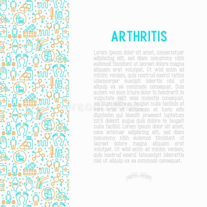 Artritbegrepp med den tunna linjen symboler royaltyfri illustrationer