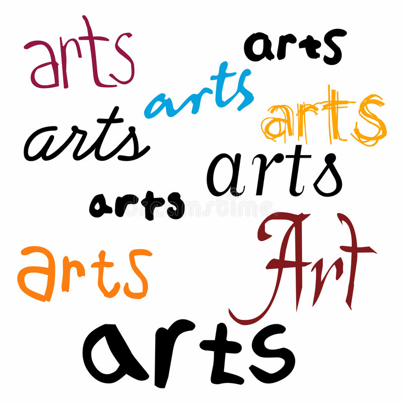 Arts Background. An illustrated background with the word 'arts' in different designs and fonts, isolated on a white background royalty free illustration