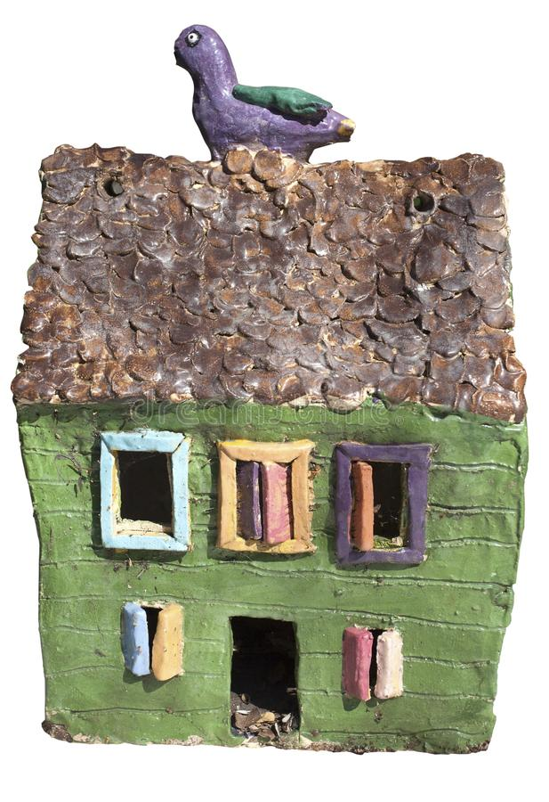 Arts and Crafts Ceramic Birdhouse stock photo