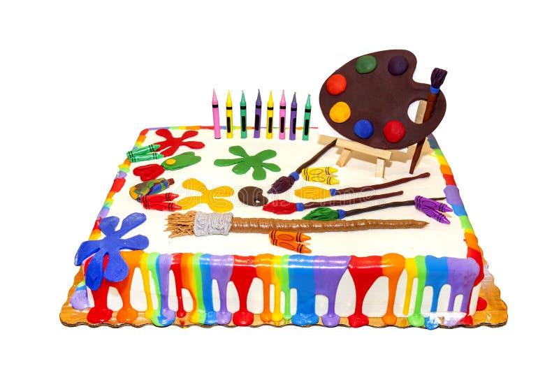 Arts And Crafts, Painter`s Celebration Birthday Cake. Isolated on white stock photo