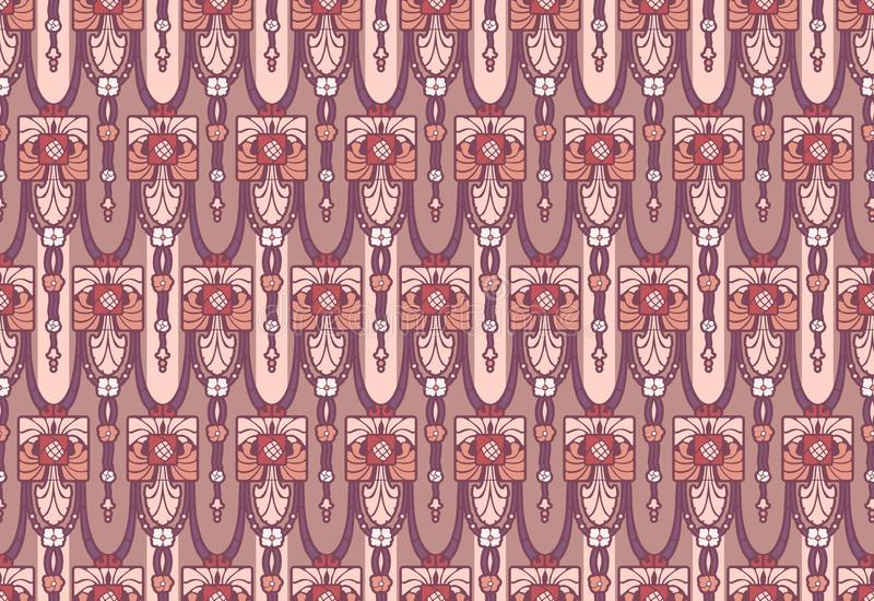 Arts and Crafts style seamless wallpaper in rose and mauve colors royalty free illustration