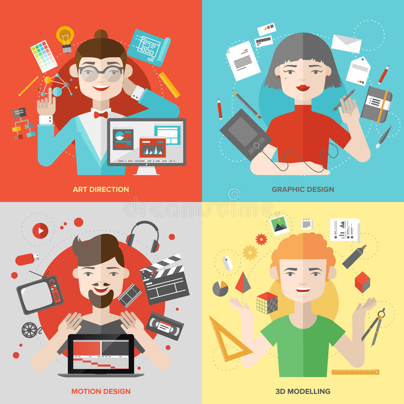Character Design Presentation : Arts and design occupations flat illustrations stock