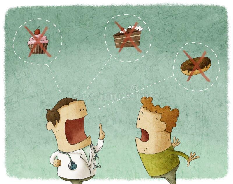 Arts die aan patiënt spreken zoet voedsel niet eten vector illustratie