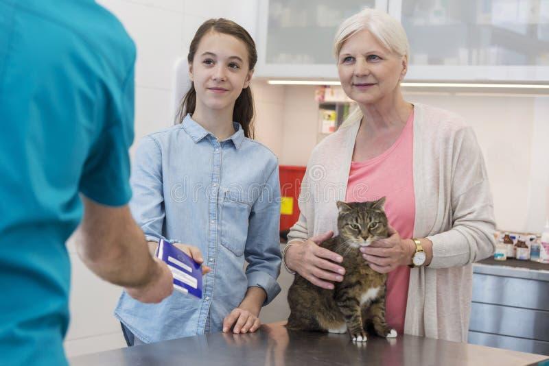 Arts die document aan meisje terwijl status door hogere vrouw met kat in veterinaire kliniek geven stock foto