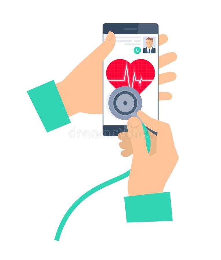 Arts die een stethoscoop op een telefoon met behulp van Telegeneeskunde en teleheal royalty-vrije illustratie