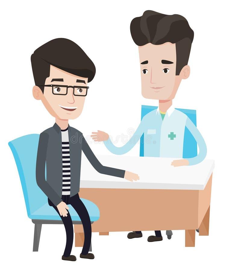 Arts die mannelijke patiënt in bureau raadplegen royalty-vrije illustratie