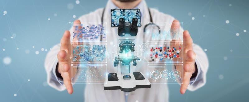 Arts die moderne microscoop met digitale analyse 3D renderin gebruiken stock illustratie