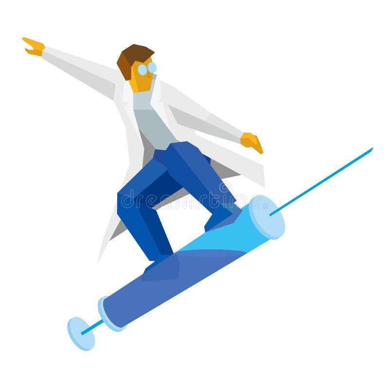 Arts die op een spuit als op een snowboard springen royalty-vrije illustratie
