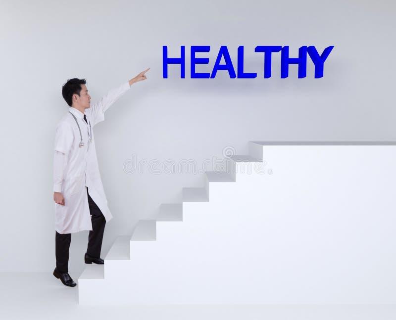 Arts die op treden opvoeren en aan gezond richten stock afbeelding