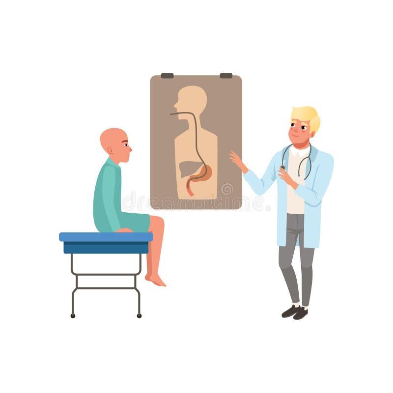 Arts die patiënt over resultaten van algemeen medisch onderzoek, kale mens met kanker na chemotherapie, oncologietherapie adviser vector illustratie