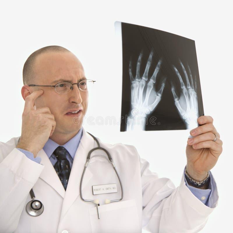 Arts die röntgenstralen bekijkt. stock afbeeldingen