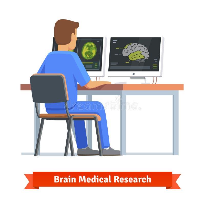 Arts die resultaten van MRI-hersenenaftasten bekijken stock illustratie