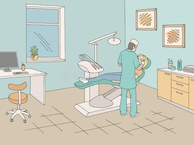 Arts die in van de de kliniek de grafische kleur van het tandartsbureau vector van de de schetsillustratie werken vector illustratie