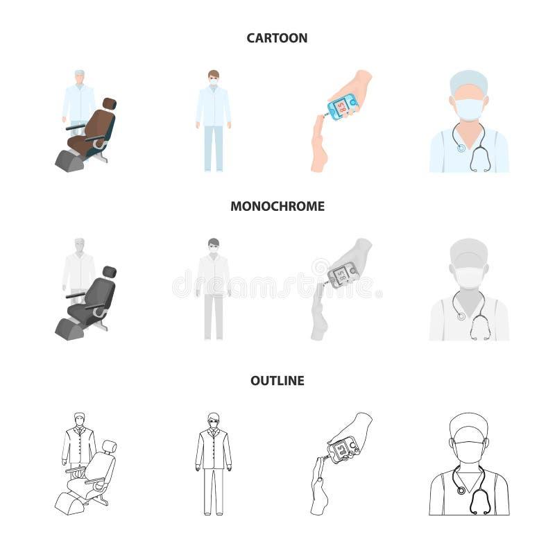 Arts in een gezichtsmasker, tandarts, medisch personeel, een bloedonderzoek voor suiker De pictogrammen van de Medicinesetinzamel stock illustratie