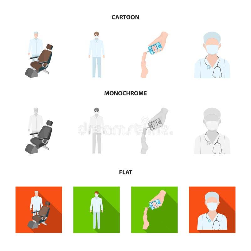 Arts in een gezichtsmasker, tandarts, medisch personeel, een bloedonderzoek voor suiker De pictogrammen van de Medicinesetinzamel vector illustratie
