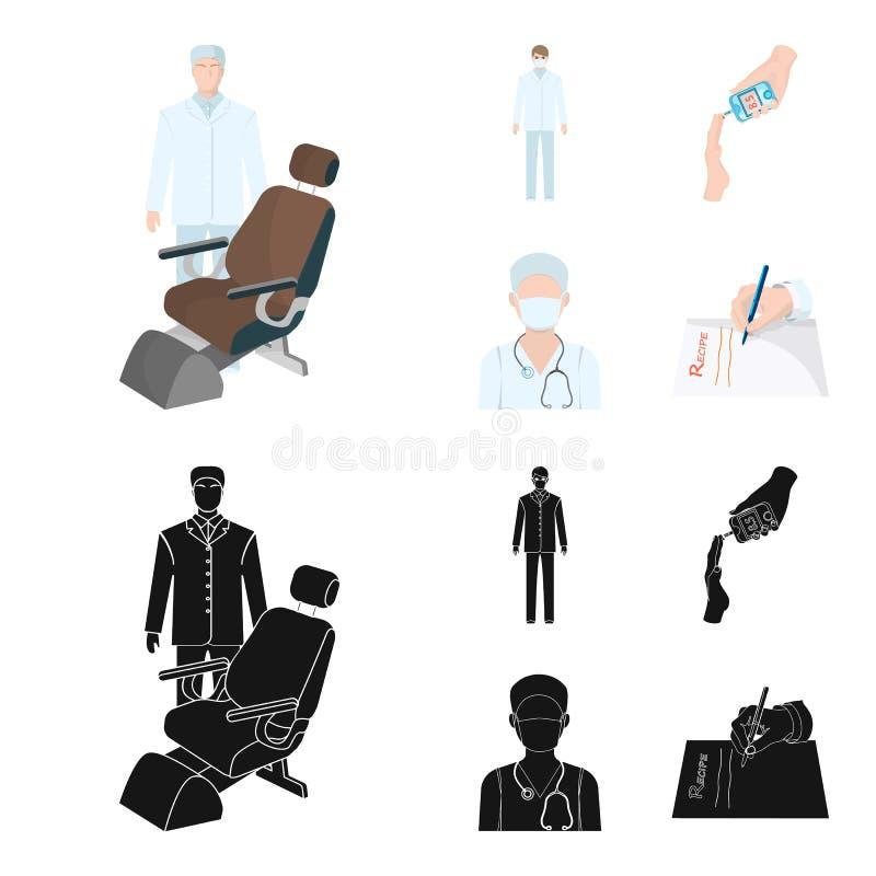 Arts in een gezichtsmasker, tandarts, medisch personeel, een bloedonderzoek voor suiker De pictogrammen van de Medicinesetinzamel royalty-vrije illustratie