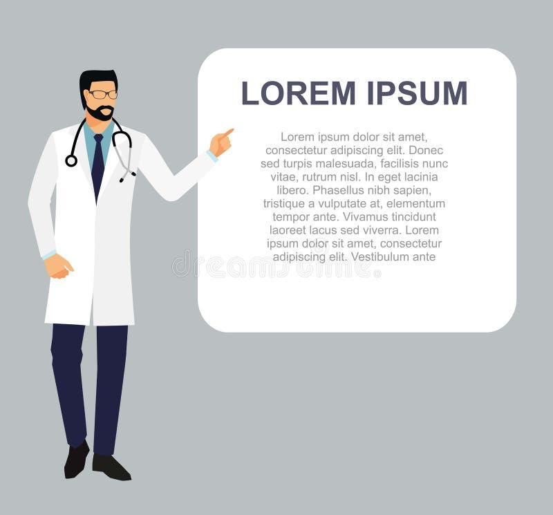 Arts in een peignoir met een stethoscoop De arts in een witte laag toont zijn vinger op een leeg blad arts en plaats voor uw t stock illustratie