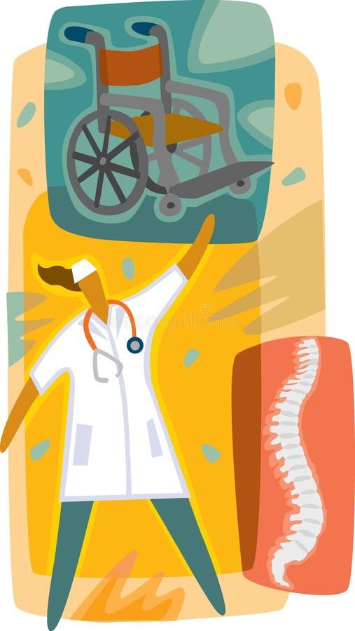 Arts; een rolstoel en een Röntgenstraal van ruggemerg stock illustratie