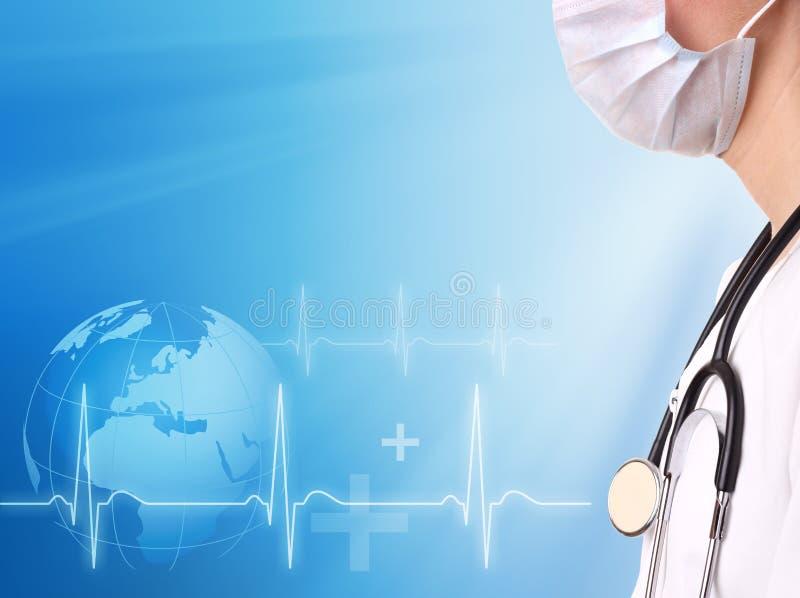 Arts en ecg lijn met medische achtergrond royalty-vrije stock foto's