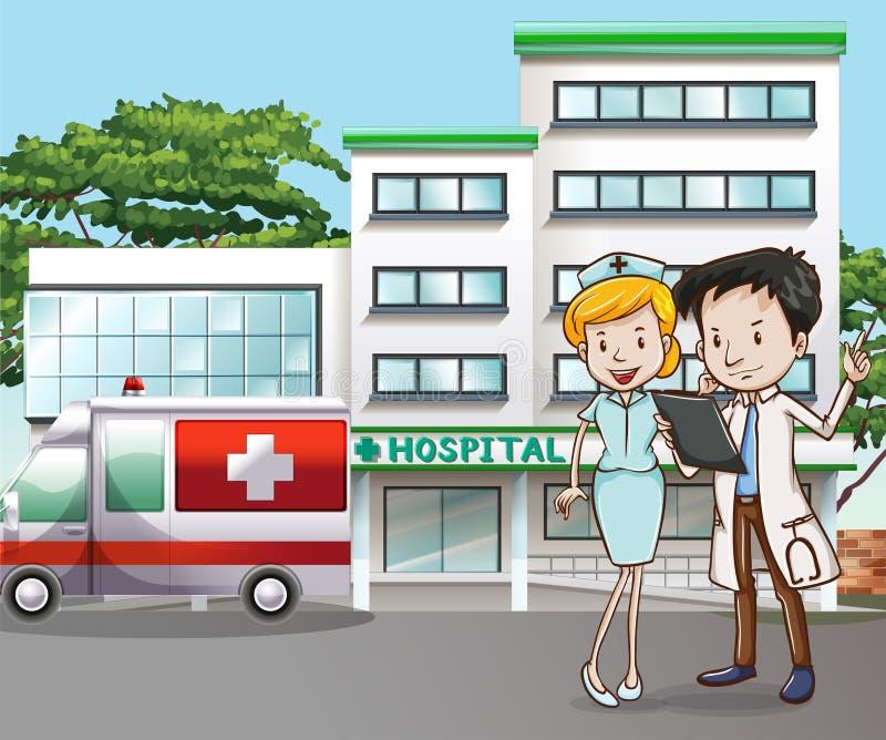 Arts en het ziekenhuis royalty-vrije illustratie